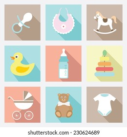 vector flat baby icons set