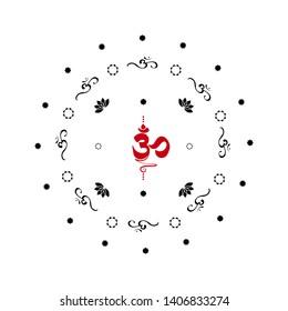 Vector flat background. Buddhist symbol Ohm vector black on white background