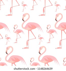 Vector flat background with pink flamigo.Seamless pattern on white background. Flamingo isolated.