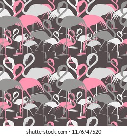Vector flat background with pink flamigo.Seamless pattern. Flamingo isolated.