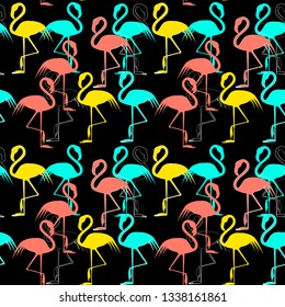 Vector flat background with pink flamigo.Seamless pattern on black background. Flamingo isolated. Abstract image. Zine art. Simple flat illustration. Print.