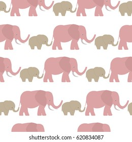 Vector flat background. Seamless pattern with cute animal. Elephants. The elephant's baby with mother. A walk in the savannah,
