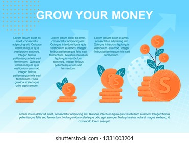 Vector Flat Banner Grow Money. Investment Growth Interest Money Deposits Gradual Percentage Receiving Deposits. Salary Money Tree Plant with Leaves and Cent Background Blue Arrows Go Up Rate Increase.