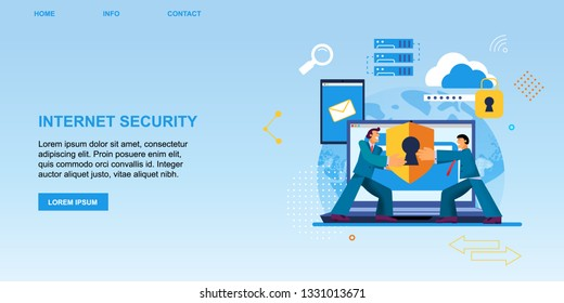 Vector Flat Banner Internet Security. Strong Men Holds in Hands Lock Protection Internet Connection. Program Protects Data from Fraudsters and Hacking Laptop Smartphone Tablet World Cloud Storage.