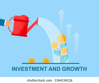 Vector Flat Banner Investment and Growth. Hand With Big Red Watering Can Watered Small Plant on Bush Grow Leaves and Cent. Money Tree Growth Rate Getting Interest on Background Arrows Show Up.