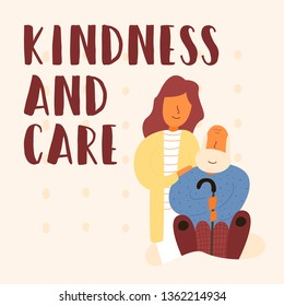 Vector flat banner kindness and care. A nurse woman in a yellow dressing gown strokes her grandfather on the shoulder. Soothes him. Gives the necessary medicine. She cares and provides help.