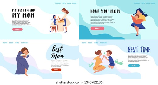 Vector Flat Banner Landing Page online training courses for the whole family. Mom teaches her daughter to cook. Parent reading a book baby. Service care for young women single mothers spending time.