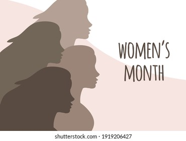 Vector flat banner with women silhouette and women's month lettering isolated on black background. International women's day equality illustration