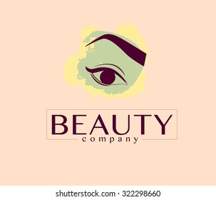 Vector flat beauty company logo design. Cosmetics label or brand insignia template isolated on light background. Eyebrow make up.