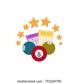 vector flat bingo cartoon lottery tickets, lotto keno jackpot number balls and golden stars. Illustration isolated on a white background. Sign of profit, casino design poster