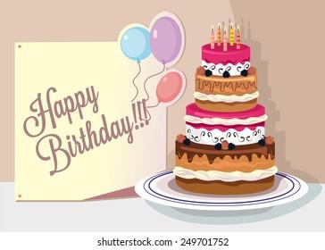 Vector flat birthday illustration