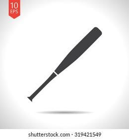 Vector flat black baseball bat icon on white background