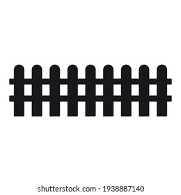 Vector flat black garden fence icon isolated on white background