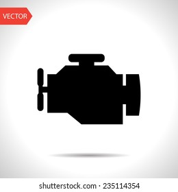 vector flat black icon of engine. eps10