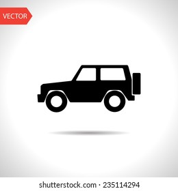 vector flat black icon of jeep. eps10