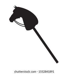 Vector flat black riding hobby horse toy silhouette isolated on white background
