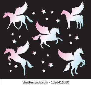 Vector flat black set collection of pegasus silhouette different pose isolated on white background