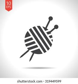 Vector flat black tailor ravel ball of yarn for knitting icon on white background