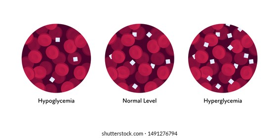 Vector flat blood cell illustration. Red gradient erythrocytes and sugar isolated on white. Concept of hypoglycemia, hyperglycemia, diabet. Design element for poster, flyer, card, banner, presentation