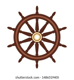 vector flat boat handwheel, ship wheel helm