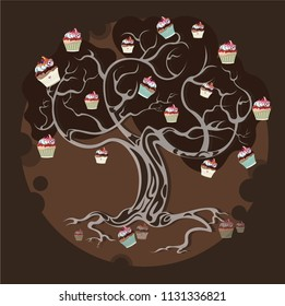 Vector flat book illustration tree silhouette with muffins cakes bakery products chocolate fairy tale food tasty artwork poster card design print cute