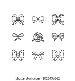 Vector flat bow icon set. Outline collections of package decorations bows and ribbons for paper, web design, logo, app, UI.