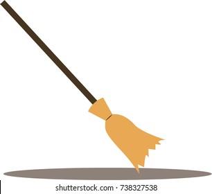 Vector flat broom isolated