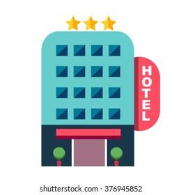 vector flat building hotel