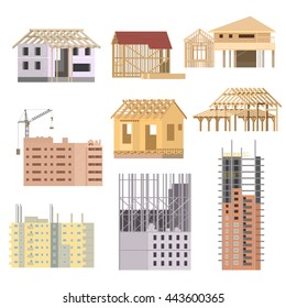 Vector flat Building under construction. Building house construction process with crane icons set.