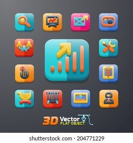 Vector flat business 3D icon set