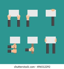 Vector flat business concept with hands holding empty signs or blank paper for message or advertisement illustration