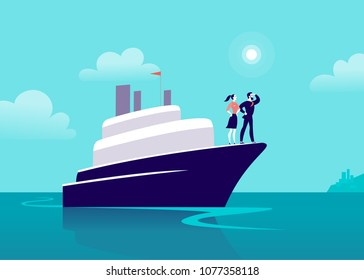 Vector flat business illustration with businessman & lady sailing on ship through ocean towards city on blue clouded sky. Motivation, achievements, new goals, aspiration, leadership, winner - metaphor