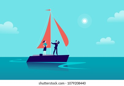 Vector flat business illustration with businessman & lady sailing on ship through ocean on blue clouded sky background. Motivation, achievements, new goals, aspiration, leadership, winner - metaphor.