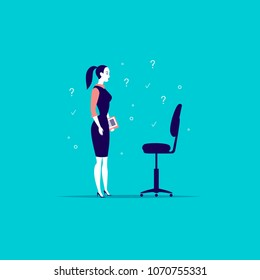 Vector flat business illustration with office lady standing at blank chair isolated on blue background. Job searching, career perspective, employment, vacancy, head hunter profession, growth metaphor.