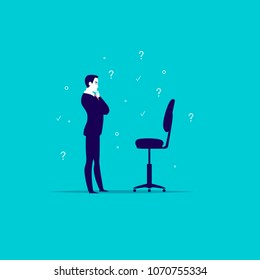 Vector flat business illustration with office man standing at blank chair isolated on blue background. Job searching, career perspective, employment, vacancy, head hunter profession, growth metaphor.