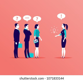 Vector flat business illustration with office people standing isolated on pink background. Searching for idea, consulting, coaching, training, new aspiration & goal, partnership, leadership - metaphor