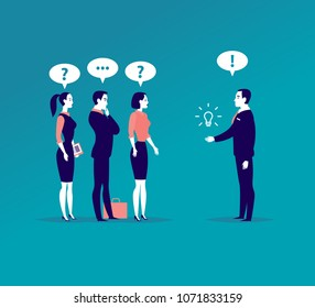 Vector flat business illustration with office people standing isolated on blue background. Searching for idea, consulting, coaching, training, new aspiration & goal, partnership, leadership - metaphor