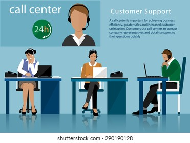 Vector flat call center concept with man and woman in headsets. Operators working in line with their headsets in office.