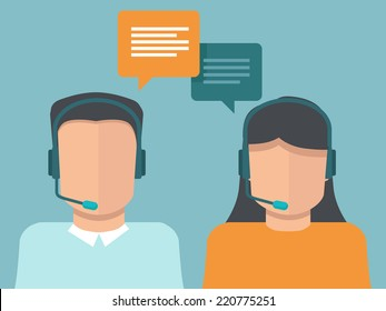 Vector flat call center operators - man and woman working as customer support