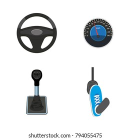 vector flat car parts, symbols icon set. Steering wheel, foot pressing pedal, speedometer, gearshift, transmission stick. Isolated illustration on a white background.