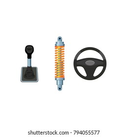 vector flat car parts, symbols icon set. Auto steering wheel, car damper, shock absorber, car manual, automatic gear box, transmission speed shift stick. Isolated illustration on a white background.