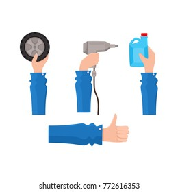 vector flat car service design object icon. Man hand in working uniform holding wrench, engine oil canister, automatic screwdriver, car wheel, showing thumbs up. Isolated illustration white background