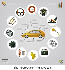 vector flat car service diagnostics infographic poster with mechanic, car parts repairing process, tools, equipment and monitor screen with growing performance graph. Illustration on grey background.