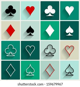 Vector flat card suit icon set. Four base gambling symbols for web or mobile design.