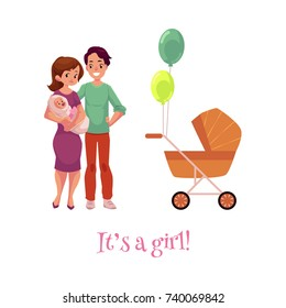 vector flat cartoon adult couple and infant and baby stroller. Isolated illustration on a white background. Flat family characters. Adult smiling man, cute woman in purple dress and newborn baby