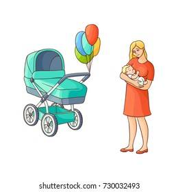vector flat cartoon adult cute woman girl in red dress standing with infant newborn baby toddler near pram, stroller with air balloons smiling. Isolated illustration on a white background.