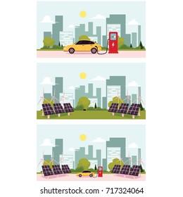 vector flat cartoon Alternative eletricity source scenes set. solar panels battery, sun power cells plant, windmills turbine eco energy source station set. Isolated illustration on a white background.