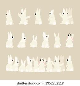 vector flat cartoon animal clip art rabbits set