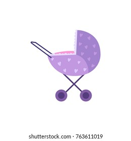 vector flat cartoon baby carriage or stroller, pram purple dotted perambulator. Isolated illustration on a white background. Newborn baby concept object for your design