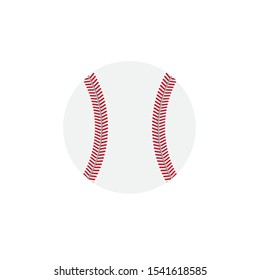Vector flat cartoon baseball ball silhouette isolated on white background